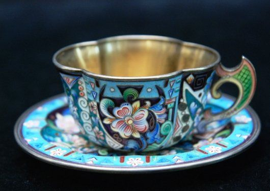 RUSSIAN STERLING SILVER & ENAMELED TEA CUP SAUCER