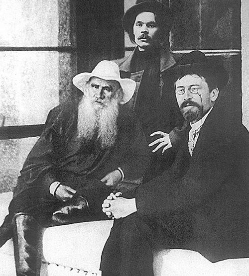 Leo Tolstoy, Maxim Gorky and Anton Chekhov