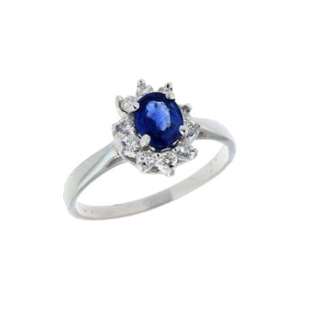 Δαχτυλίδι σε Λευκόχρυσο18K Ροζέτα με Διαμάντια και Ζαφείρι #Ring #White_Gold #Diamonds #Sapphires #handmade #craftsmanship  #goldsmith #Thessaloniki #Greece