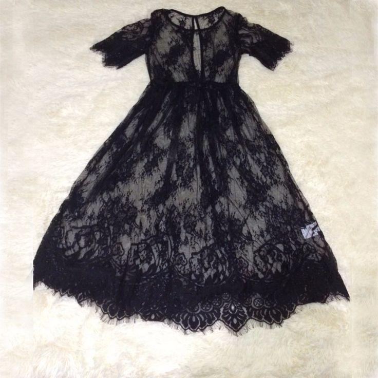 Лето Женщины Midi Платья Длинные Черные С Коротким Рукавом О Шеи See Through одежда для Пляжа Кружева Сексуальное Платье