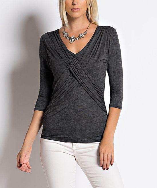 Charcoal Crisscross-Front Knit Top