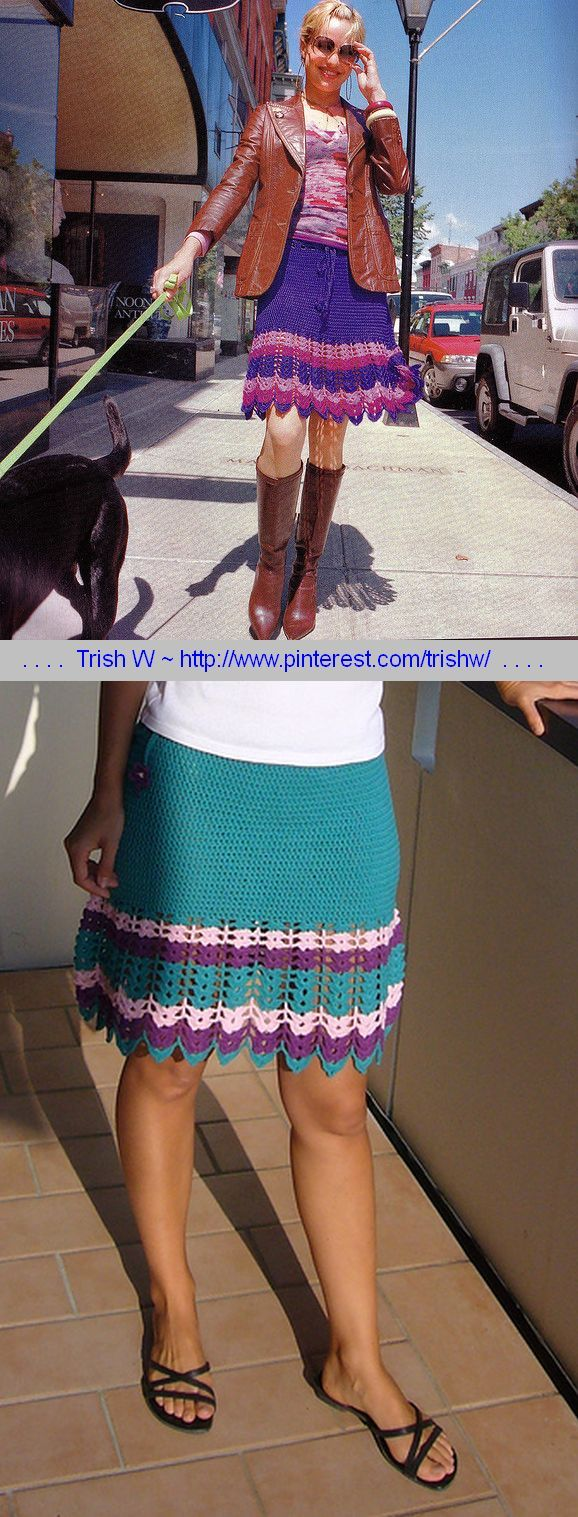 Violet Beauregard Skirt, pattern in book Stitch 'n Bitch Crochet: The Happy Hooker (check library) Really simple pattern with drawstring waist. Pics from Ravelry Project Gallery . . . . ღTrish W ~ http://www.pinterest.com/trishw/ . . . .