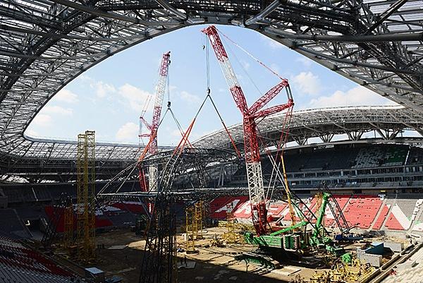 Stage set for 2013 Summer Universiade Opening Ceremony at Kazan Arena Stadium