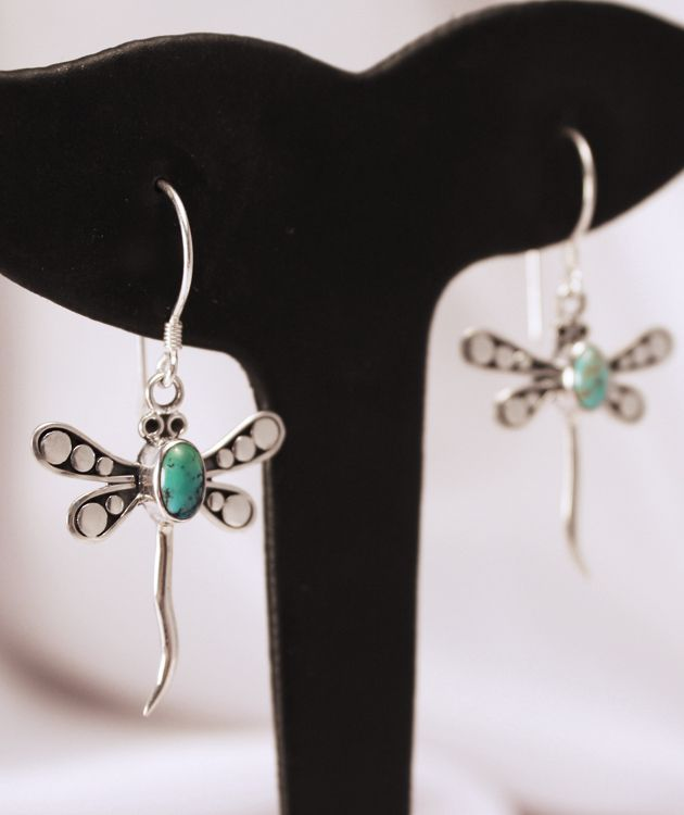 Sterling Silver Turquoise Dragonfly Earrings