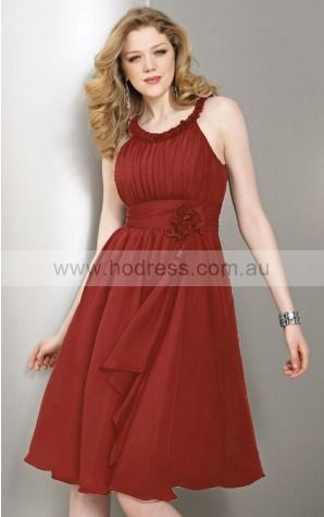 Sleeveless Scoop Zipper Chiffon Knee-length Formal Dresses zyh037--Hodress