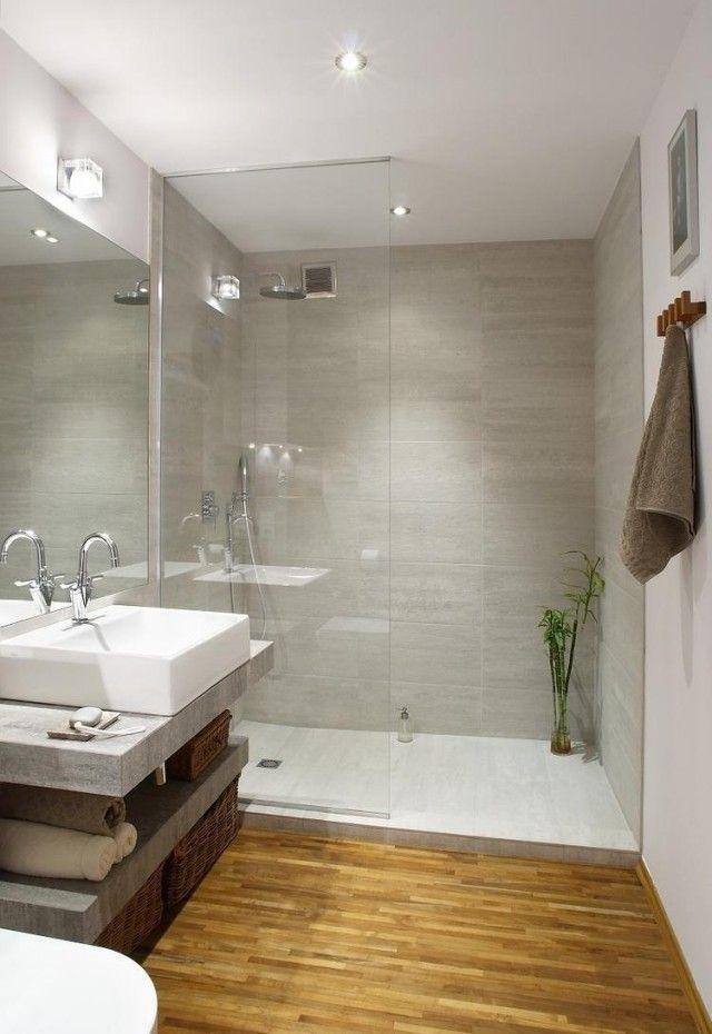 offene dusche ohne tür duschabtrennung glas graue fliesen