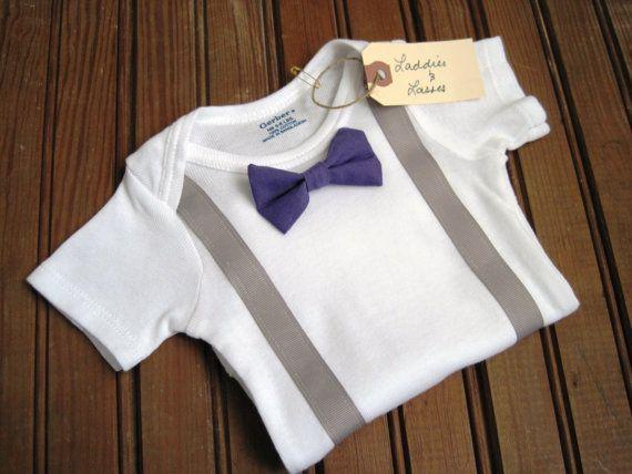Short Sleeve Purple Bow Tie Onesie with by LaddiesAndLasses, $18.00