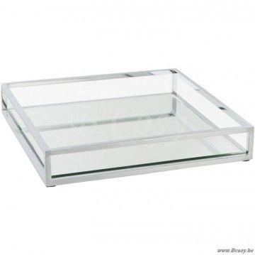 J-Line Vierkant glazen dienblad plateau met spiegel 30