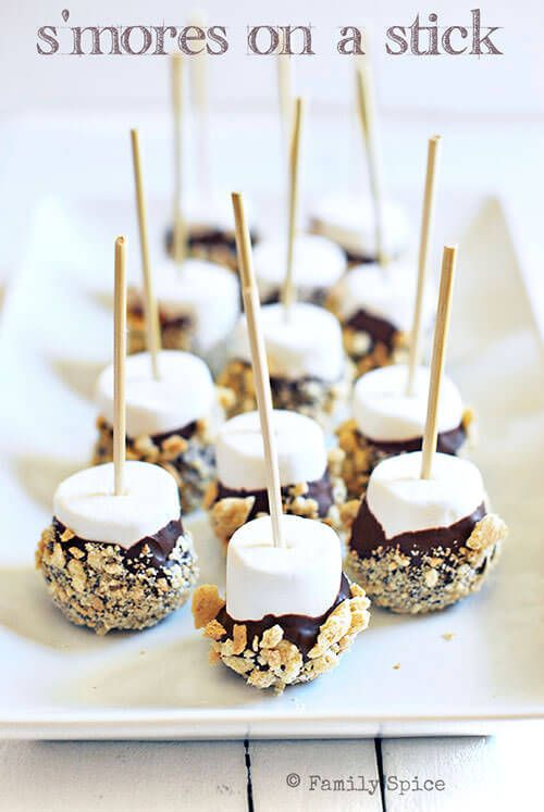 S'mores on a Stick! Maybe use mini marshmallows & toothpicks?