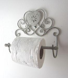 Heart toilet loo roll holder scroll design vintage shabby for Toilette shabby chic
