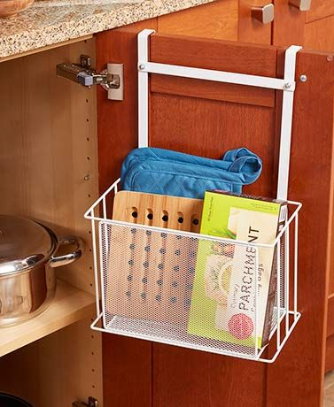 Over-Cabinet Basket Storage is a quick and easy way to clear clutter. It provides ample organizational space on the back of any cabinet door. Use the 2 hanging