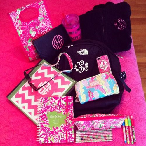 monogrammed school supplies! - actually kinda makes me excited to go back to school