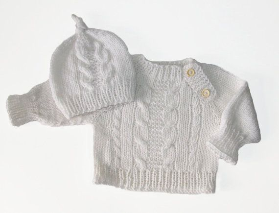 Handknit sweater and hat for baby boy white baby by iziknittings, $46.00