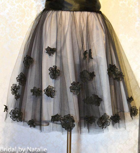 Black Tutu Skirt  Floral Cocktail Skirt  by BridalSashbyNatalie
