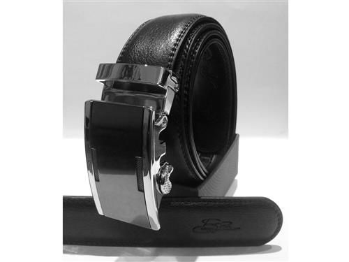 Genuine  Black Leather Automatic Buckles Elegant and unique,  no holes, but with the new automatic system.