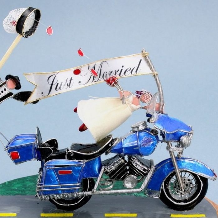 Just Married Motorcycle Wedding Cake Toppers