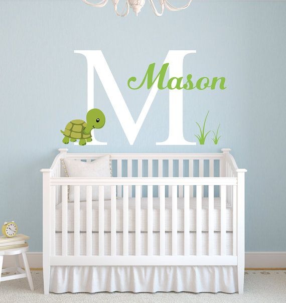 Custom Name Wall Decal - Turtle Wall Decal - Monogram Baby Room Decor - Sea Turtle Nursery Decor - Nursery Wall Decal - Vinyl Wall Decal