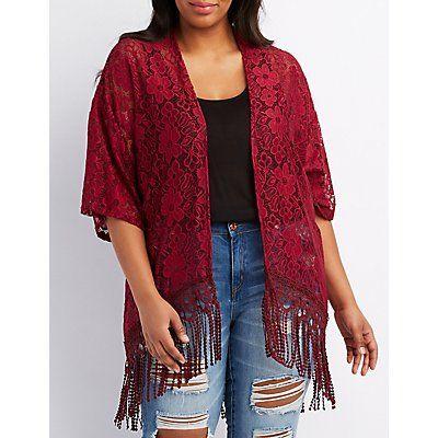 Plus Size Red Lace Fringe-Hem Kimono - Size 3X