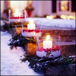 Cranberries, candles and salt. - Cute idea for Christmas decorations