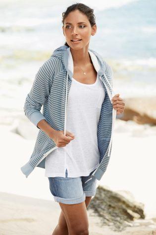 Blue/Grey Stripe Zip Through Hoody
