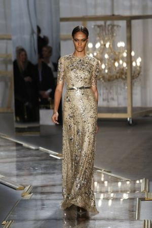 Delicious gold silver sequinned dress on the runway.jpg