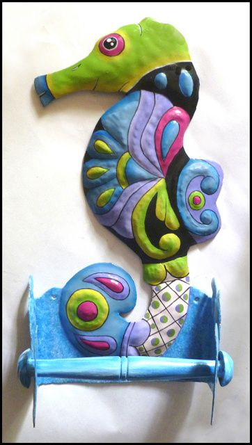 TROPICAL HOME DECOR - Seahorse Bathroom Toilet Tissue Holder - Hand Painted Metal Bathroom Accessories  - Found at www.TropicAccents.com