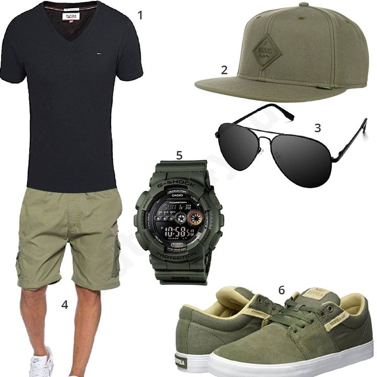Männer-Style für den Sommer mit Tommy Hilfiger Shirt, Djinns Cap, schwarzer Pilotenbrille, Casio G-Shock, Supra Schuhen und khaki Shorts. #outfit #style #fashion #menswear #mensfashion #inspiration #shirts #weste #cloth #clothing #männermode #herrenmode #shirt #mode #styling #sneaker