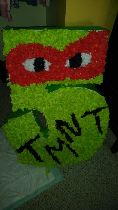 Made this for my sons 5th birthday party. Ninja turtle pinata