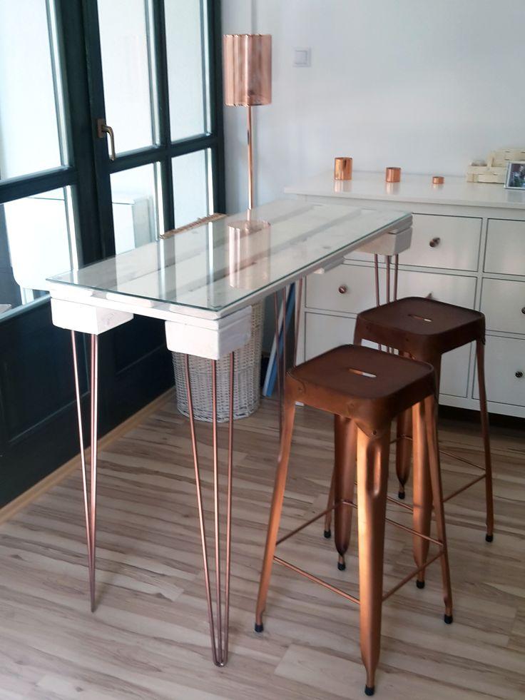 raklap asztallap hajtú lábakkal / pallet table with hairpin legs