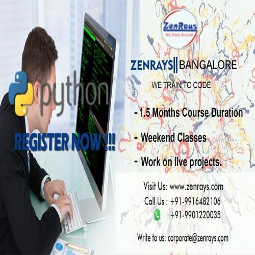 #Python Training in Bangalore new batch starts this weekend.  REGISTER NOW! Visit: http://zenrays.com/course/pythondjango-training