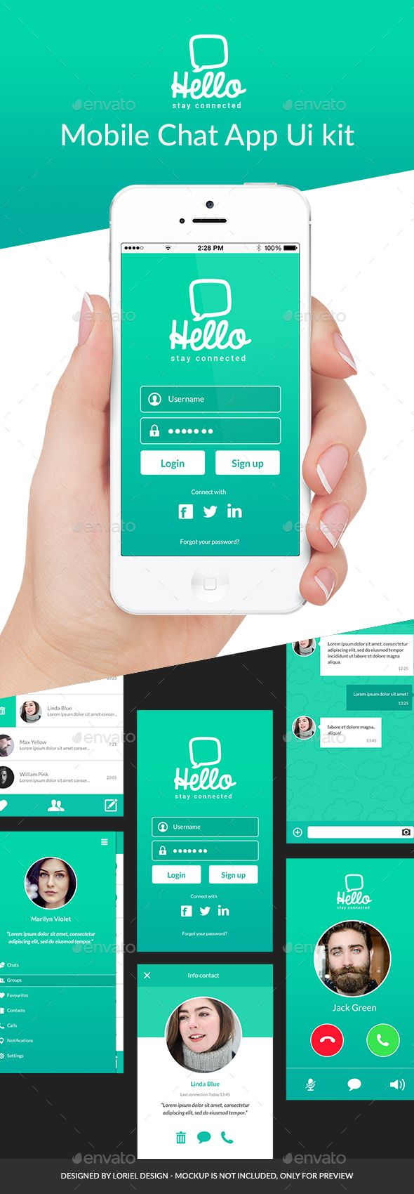 Hello - Mobile Chat App Ui kit - #User #Interfaces #Web Elements Download here: https://graphicriver.net/item/hello-mobile-chat-app-ui-kit/19707733?ref=alena994