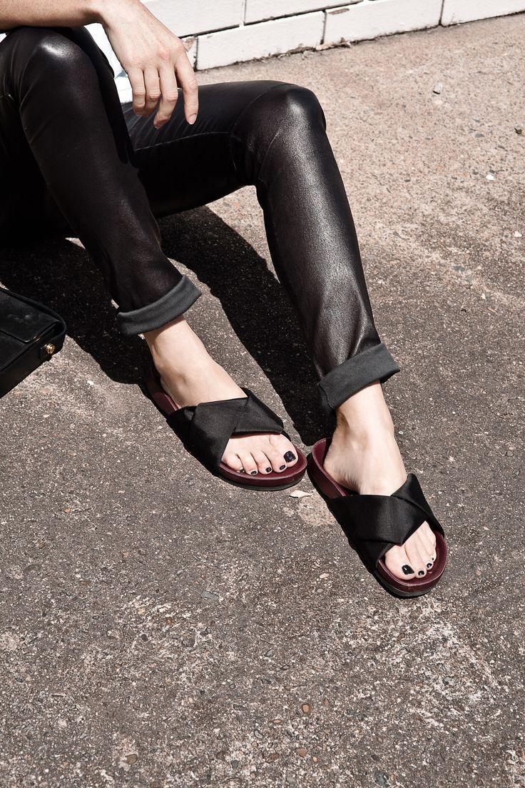 leather pants + celine slides | Oracle Fox