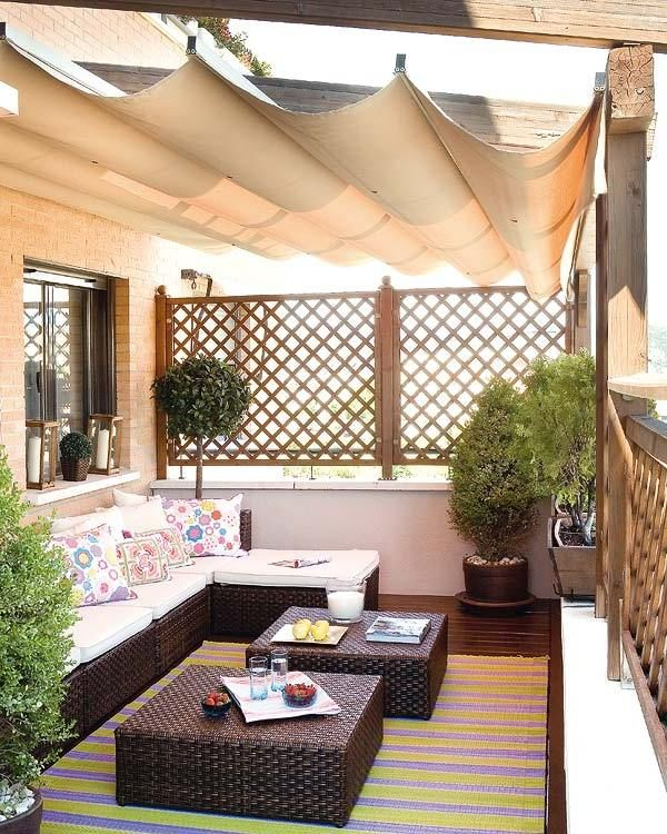 modern balcony design with patio sofa