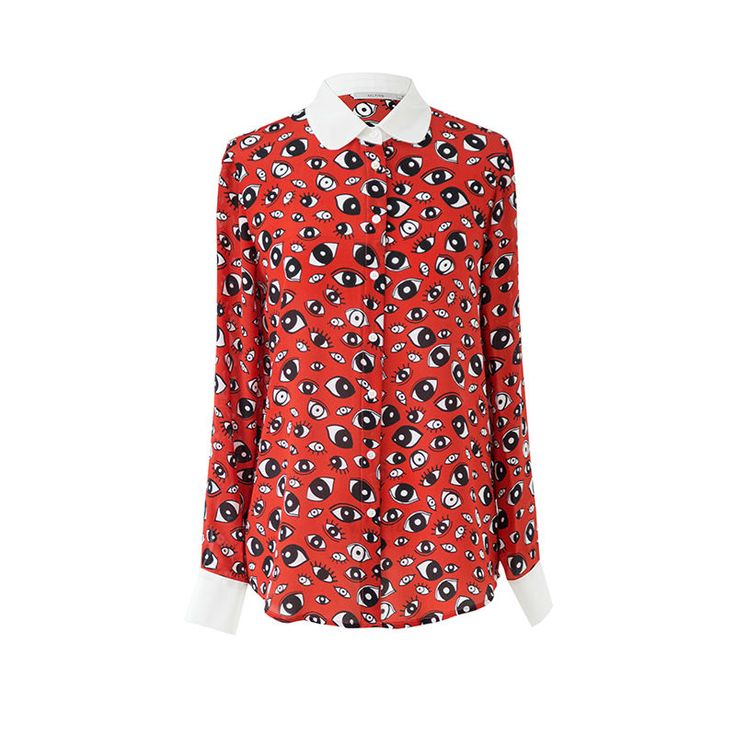 100%Natural Silk blouse Women Print Long sleeve Blouses Silk Chiffon Blusas femininas 2016 NEW Red