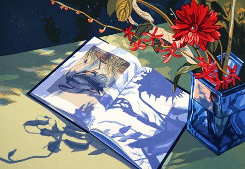"""Audubon October"" by Jane Goldman  17 color screenprint  22 x 30 in.  Edition: 65  2006"