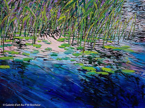Bev Rodin, 'Weeds and Lilies at Sunset', 30'' x 40'' | Galerie d'art - Au P'tit Bonheur - Art Gallery