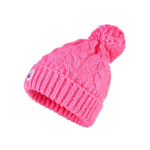 Superdry Clarrie Beanie ($25) ❤ liked on Polyvore featuring accessories, hats, pink, superdry, beanie cap, logo beanie hats, bobble beanie and bobble beanie hat