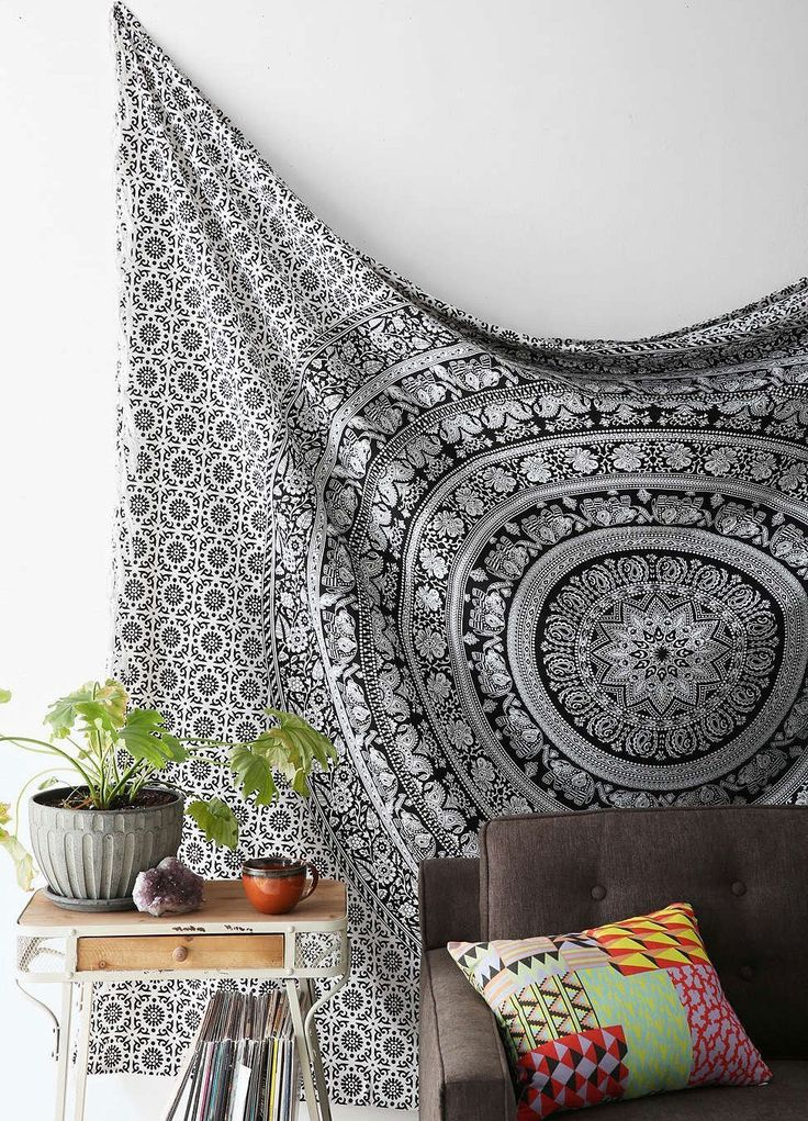 Black And White Tapestries Elephant Mandala Hippie Tapestry Indian Traditional Throw Beach Throw