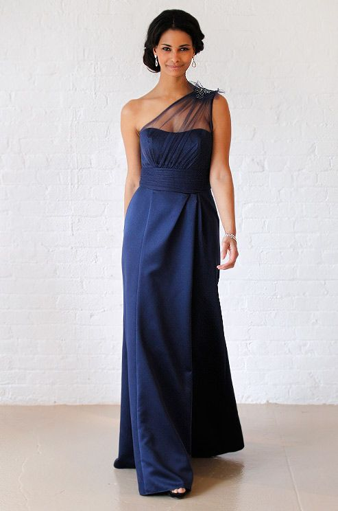 David's Bridal royal blue navy blue #wedding dress, Fall 2012.  An idea for a longer dress. Not sure if you're thinking full length or cocktail