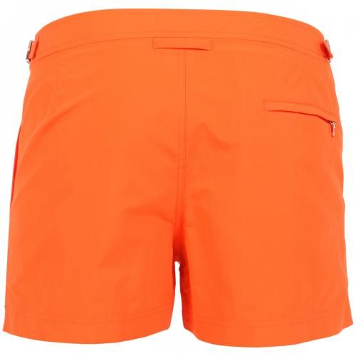 SPRINGER ORANGE NYLON BOARDSHORTS  Springer light blue nylon swim shorts with two front pockets and back zippered pocket. Side adjustable straps with metal buckle. Internal net. Snap button and zipper closure. COMPOSITION: 100% POLYAMIDE. Internal net: 100% POLYESTER. Model wears size 32 he is 189 cm tall and weighs 86 Kg.