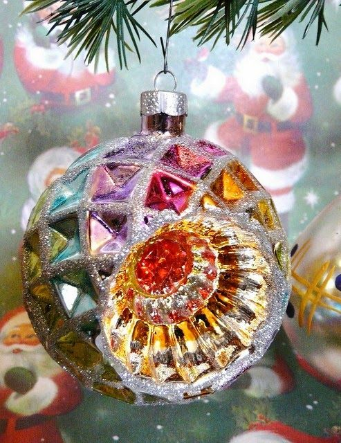 Vintage Rainbow Christmas Ball !! Merry Christmas