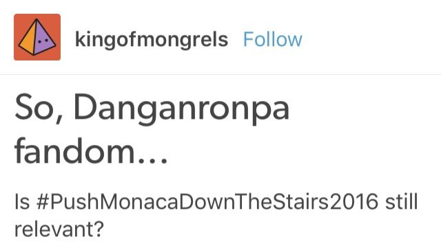 Pushing Monaca down the stairs is always relevant