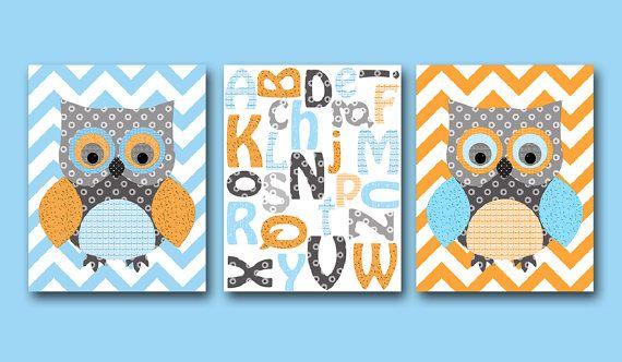 Owl Decor Owl Nursery Alphabet Baby Boy Nursery decor Children Art Print Baby Nursery Print set of 3 8x10 Alphabet nursery orange blue gray