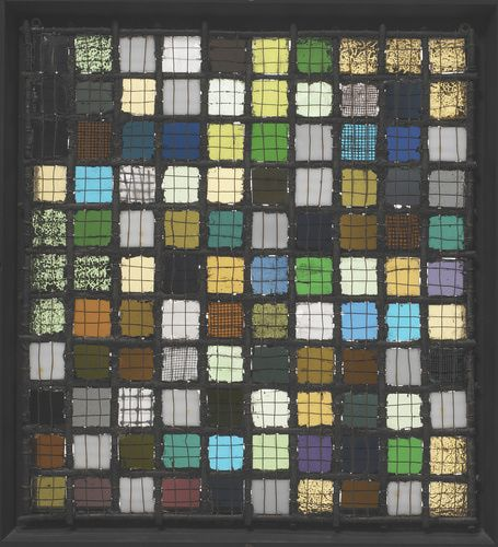 Josef Albers (American, b. Germany, 1888-1976). Gitterbild (Lattice Picture, also known as Grid Mounted), ca. 1921. Glass, iron, and copper wire. 13 1/8 x 11 7/8 in. (33.4 x 30.2 cm). Photo © Tim Nighswander/Art Resource, NY.