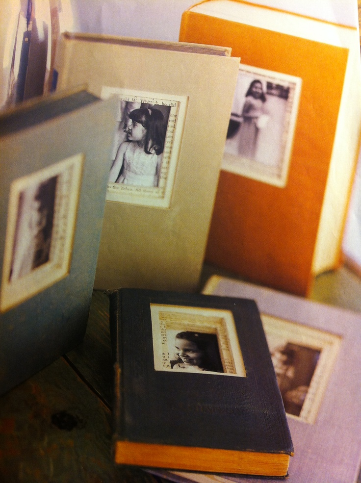 Recycle old books into personal picture frames.  Use moge poge to hold the pages in place.  #old #books #recycled #unique #frames #picture
