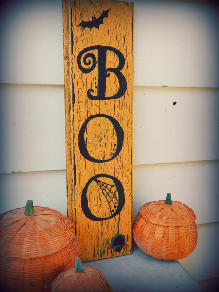 boohalloweendecorsignbyrosalynsanterre10onetsy - Wooden Halloween Decorations