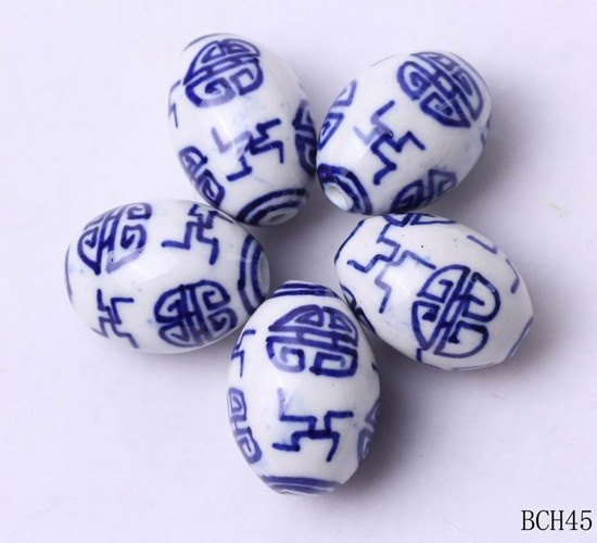 $0.70  20x12mm Oval Blue White Porcelain Phoenix Charms Jewelry Necklaces Making #Eozy