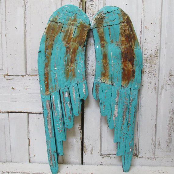 Wood And Metal Angel Wings Wall Decor Weathered Rusty Aqua Turquoise Custom Mix Distressed Home Decor Anita Spero