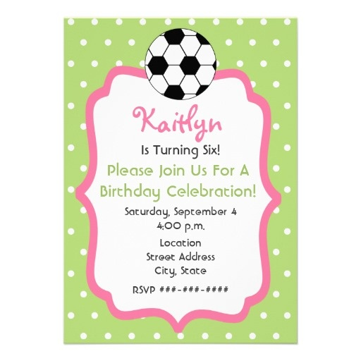 Girls Soccer/Tea Birthday Party Invitation idea - swap pink for green and purple for green, make polka dots into tea pot silhouettes