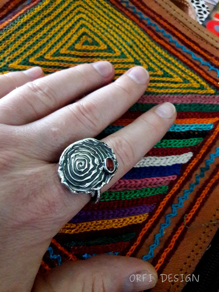 Silver clay ring...bohemian style...boho silver jewelry..